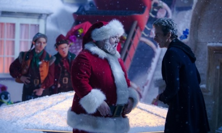WARNING: Embargoed for publication until: 06/12/2014 - Programme Name: Doctor Who Christmas Special - TX: 25/12/2014 - Episode: Last Christmas, written by Steven Moffat (No. 1) - Picture Shows: ***EMBARGOED UNTIL 00:01hrs 6TH DEC 2014*** Santa Claus (NICK FROST), Doctor Who (PETER CAPALDI) - (C) BBC - Photographer: Adrian Rogers